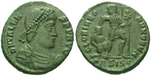 Ancient Coins - VF/F+ Valens AE3 / Emperor Dragging Captive
