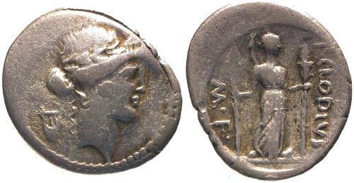 Ancient Coins - 42 BC / F/gF Claudia 15 Roman Republic Denarius / Diana Lucifera holding torches