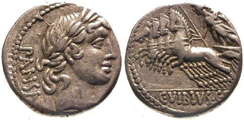 Ancient Coins - 90 BC / VF/VF Vibia 3 Roman Republic Denarius / Minerva in Quadriga