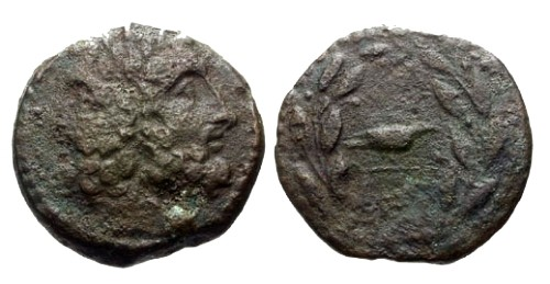 Ancient Coins - gF/gF Sicily Panormos AE22 / Janus and Dove