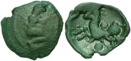 Ancient Coins - aVF/VF Bellovaci Class IIIa AE / Kneeling Figure RRR