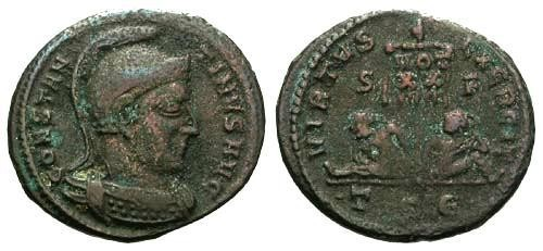Ancient Coins - F+/F+ Constantine the Great / Helmeted bust / Captives