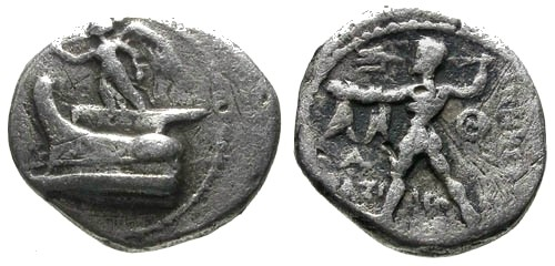 Ancient Coins - gF+/gF+ Kings of Macedonia Demetrios Poliorketes AR Hemidrachm / Nike on prow / Poseidon