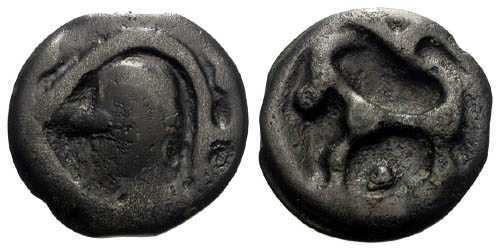 Ancient Coins - VF/EF Scarce Senones Tribe Potin / Horse