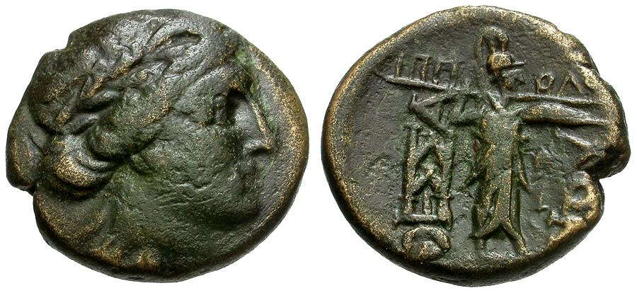 Ancient Coins - Thessaly.  Thessalian League Æ20 / Apollo and Athena