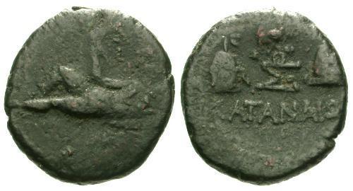 Ancient Coins - gF/gF Katane Sicily AE21 / River god / Scarce Issue