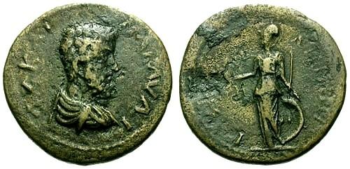 Ancient Coins - VF/aVF Marcus Aurelius Mysia Lampsacus AE28 / Athena