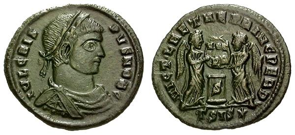 Ancient Coins - aEF/aEF Crispus Caesar Æ3 / Two Victories at Altar