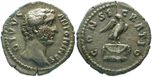 Ancient Coins - VF/aVF Divus Antoninus Pius Denarius / Eagle Standing on Garlanded Altar