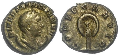 Ancient Coins - VF/VF Mariniana, wife of Valerian AR Antoninianus Peacock in Splendour