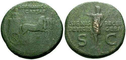 Ancient Coins - gF+/gF+ Germanicus AE AS / Slow Quadriga