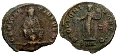 Ancient Coins - VF/VF Antioch Civic Coinage 1/4 Follis under Pagan Revival of Maximinus II.