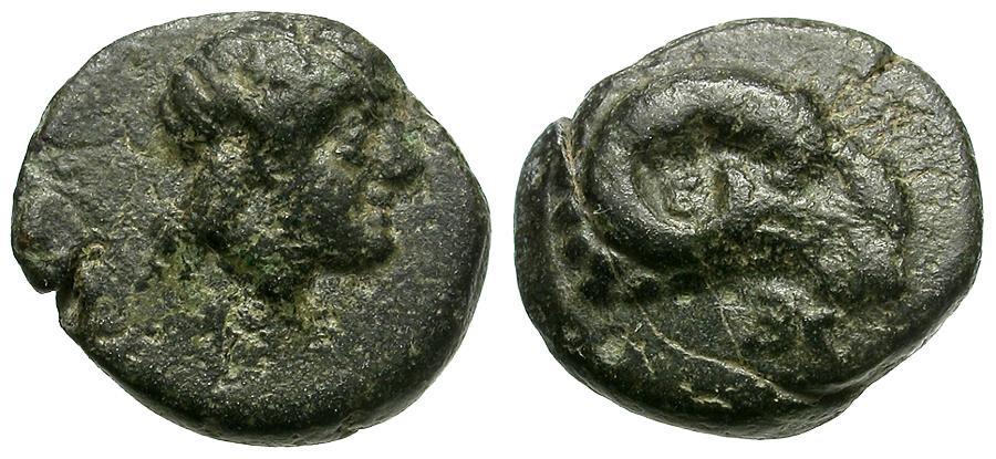 Ancient Coins - Troas. Kebren Æ9 / Apollo / Ram's head