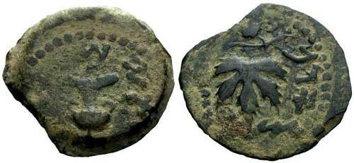 Ancient Coins - VF/VF Jewish War Bronze / Amphora and Vine Leaf