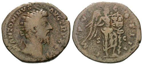 Ancient Coins - gF/gF Marcus Aurelius Dupondius / Victory