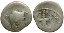 Ancient Coins - Sextus Pompey AR Denarius / Naval Trophy