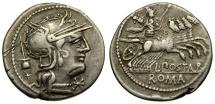 Ancient Coins - 131 BC - Roman Republic. Postumius Albinus AR Denarius / Mars in Quadriga