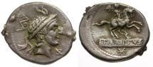 Ancient Coins - VF/VF 113-112 BC - Roman Republic L. Marcius Philippus AR Denarius / Equestrian Statue