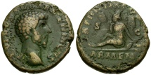 Lucius Verus Æ AS / Armenia as Captive