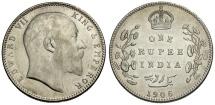 World Coins - India.  Edward VII AR One Rupee