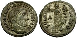 Ancient Coins - Maximinus II Daia Æ Silvered Follis / Sol with head of Serapis