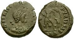 Ancient Coins - Theodosius I Æ4 / Victory dragging Captive