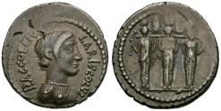 Ancient Coins - 43 BC - Roman Republic.  P. Accoleius Lariscolus AR Denarius / Nymphae Querquetulanae