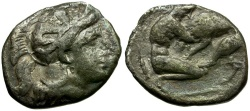 Ancient Coins - Calabria. Tarentum AR Diobol / Herakles Strangling Lion