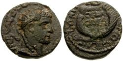Ancient Coins - Gallienus, Damascus Æ19 / Wreath