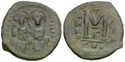 Ancient Coins - *Sear 360* Byzantine Empire. Justin II (AD 565-578) with Sophia Æ Follis