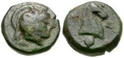 Ancient Coins - Thessaly. Pharsalos Æ12 / Horse's Head