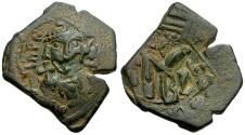 Ancient Coins - Byzantine Empire. Constans II Æ Follis / Overstruck