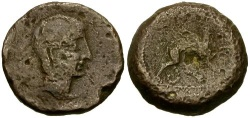 Ancient Coins - gF+/gF+ Spain Castulo Anonymous Æ As / Sphinx