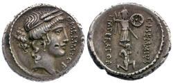 Ancient Coins - 56 BC - Roman Republic. C. Memmius C.f. AR Denarius / Captive and Trophy