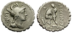 Ancient Coins - 80 BC - Roman Republic. C. Poblius Q.f. AR Serrate Denarius / Hercules Strangling Lion