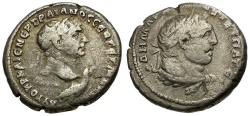 Ancient Coins - Trajan. Phoenicia. Tyre AR Tetradrachm / Bust of Trajan with Eagle