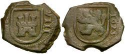 Ancient Coins - Spain. Philip III Æ Blanca / Shields