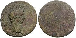 Ancient Coins - Claudius (AD 41-54) Æ Sestertius / Legend in Wreath