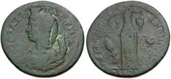 Ancient Coins - Julia Domna (AD 193-217). Lydia. Sardes. G Klaudios Mithros, archon Æ / Julia Domna as Tyche