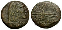Ancient Coins - Lydia.  Apollonis Æ14 / Herakles and Thunderbolt