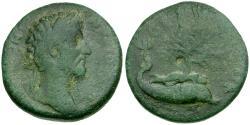 Ancient Coins - Marcus Aurelius. Corinthia. Corinth Æ25 / Melikertes on Dolphin's Back