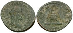Ancient Coins - Philip I (AD 244-249). Commagene. Zeugma Æ31 / Temple of Zeus with Sacred Grove