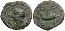 Ancient Coins - Tranquillina. Thrace. Deultum Æ18 / Dolphin