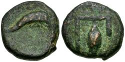 Ancient Coins - Islands off Elis. Kephallenia. Pale Æ15 / Dolphin and Barley Corn