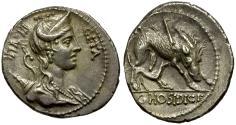 Ancient Coins - 68 BC - Roman Republic. C. Hosidius c.f. Geta AR Denarius / Boar