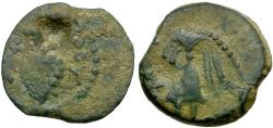 Ancient Coins - Judaea. Herod II Archelaus Æ Prutah / Grapes on Vine