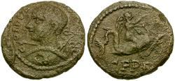 Ancient Coins - Gordian III. Thrace. Deultum Æ18 / Eros Riding Dolphin