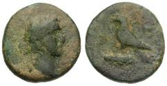 Ancient Coins - gF/gF Antoninus Pius, Cilicia Kastabala Æ17 / Eagle on club