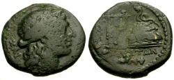 Ancient Coins - aVF/aVF Campania, Neapolis Æ20 / Apollo / Lyre and Omphalos