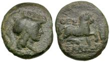 Ancient Coins - Thessaly. Thessalian League. Pherekrates and Isagoras, magistrates Æ17 / Athena